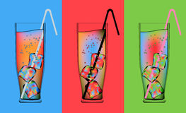 Psychedelic cocktails. Three different vector psychedelic cocktails Royalty Free Stock Photography