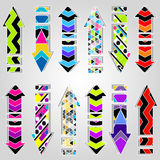 Psychedelic colored arrows symbols collection Stock Photography