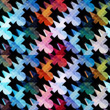 Psychedelic colored polygons Abstract seamless geometric pattern on a black background Stock Image