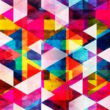 Psychedelic colored polygons geometric abstract pattern grunge texture Royalty Free Stock Photo
