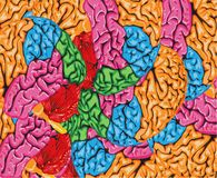 Psychedelic colorful background of human brain Royalty Free Stock Photos