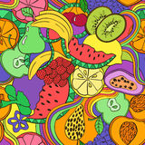 Psychedelic colorful fruit seamless pattern. Stock Image