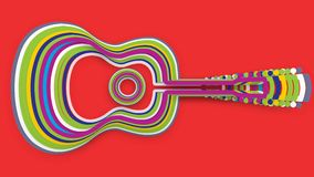 Psychedelic guitar animation stock video footage