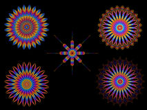 Psychedelic Colorful Kaleidoscope Spirograph Motifs. Collection of Psychedelic Colorful Kaleidoscope Spirograph Motifs  On Black Royalty Free Stock Images
