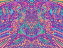 Psychedelic creative colorful symmetrical pattern design art. Surreal abstract decorative pattern with doodle maze of ornaments. Vector hand drawn illustration stock illustration