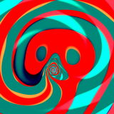 Psychedelic curled thongue. Computer art illustration. Modern style. Concept image. Abstract decoration element. Background. Stock Image