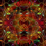 Psychedelic curves pattern in vivid colors on dark background Royalty Free Stock Images