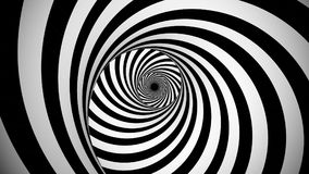 Optical black and white spinning illusion. A psychedelic 3d illustration of an optical illusion created by black and white stripes rotating in a tunnel with vector illustration