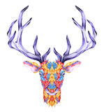 Psychedelic deer head tattoo. Stock Photo