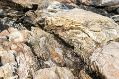 Psychedelic design on ocean rocks in Mid-Coast Maine Stock Images