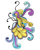 Psychedelic doodle. Design element in vivid colors Royalty Free Stock Photo