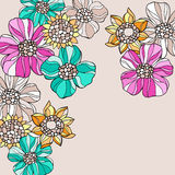 Psychedelic Doodle Flowers Vector Royalty Free Stock Photography