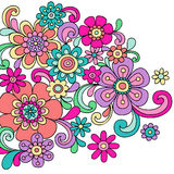 Psychedelic Doodle Henna Flowers Vector Stock Image