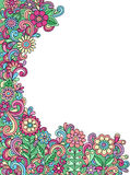 Psychedelic Doodle Henna Flowers Vector. Hand-drawn Psychedelic Doodle Henna Abstract Flower Garden and Swirls Vector Illustration Border Design Stock Images