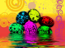 Psychedelic Easter Eggs Stock Images
