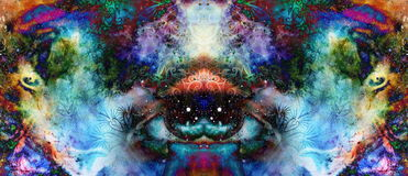 Psychedelic eyes on multicolor abstract backgroung with ornamental pattern. Stock Photos