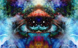 Psychedelic eyes on multicolor abstract backgroung with ornamental pattern. Stock Image