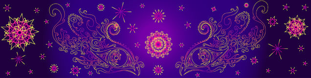 Psychedelic eyes of a shaman. Surrounded by fractals on a purple background, mystical eyes, vector illustration, eyes ethno yellow pink outline vector illustration