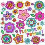 Psychedelic Flower Power Doodles Vector Set. Flower Power Flowers Groovy Psychedelic Hand Drawn Notebook Doodle Design Elements Set on Lined Sketchbook Paper vector illustration