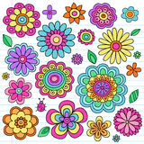 Psychedelic Flower Power Doodles Vector Set stock illustration