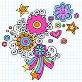Psychedelic Flowers Notebook Doodle Vector. Psychedelic Notebook Doodles with Flowers, Hearts, Stars, and Swirls Vector Illustration on Graph (Grid) Paper Stock Photography