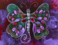 Free Psychedelic Flying Butterfly In A Bright Turbulent Red And Purple Sky Stock Image - 167966481