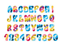 Psychedelic font with colorful pattern. Vintage hippie alphabet. Stock Image