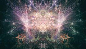 Psychedelic Fractal Art PsyTrance Concept. Great background image for any psychedelic or spiritual purposes stock photo