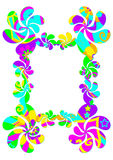 Psychedelic frame border. Funky frame or border with a colorful psychedelic flower-power pattern isolated on a white background Stock Images