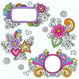 Psychedelic Frames Notebook Doodle Vector. Psychedelic Notebook Doodle Frames and Design Elements with Flowers, Hearts, Stars, and Swirls Vector Illustration on Royalty Free Stock Photos