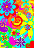 Psychedelic funky background. Fun funky psychedelic colorful background reminiscent of the hippie flower power era of the 60s and 70s (vector Royalty Free Stock Photography