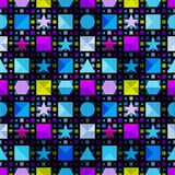 Psychedelic geometric objects on a black background seamless pattern vector illustration Stock Photos
