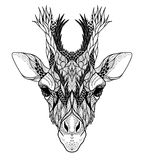 Psychedelic Giraffe head tattoo. Vector illustration vector illustration