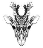 Psychedelic Giraffe head tattoo. Stock Photo