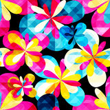 Psychedelic graffiti flowers seamless background. (vector eps 10 Royalty Free Stock Photography