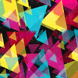 Psychedelic graffiti triangles geometric pattern on a black background Royalty Free Stock Image