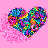 Psychedelic Heart Doodle Vector. Hand-drawn Psychedelic Heart Doodle Vector Illustration with Flowers and Swirls Stock Photos