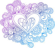 Psychedelic Heart Outline Vector Illustration. Psychedelic Heart Love Outline Hand-Drawn Doodle Vector Illustration Royalty Free Stock Images