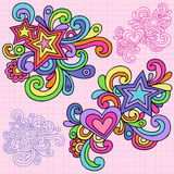 Psychedelic Heart and Stars Notebook Doodle Vector. Groovy Notebook Doodles with Hearts, Stars, and Swirls Vector Illustration on Pink Graph (Grid) Paper Royalty Free Stock Images