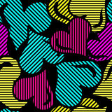 Psychedelic hearts on a black background geometric abstract pattern Royalty Free Stock Photography