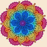 Psychedelic Henna διάνυσμα λουλουδιών Mandala Doodle Στοκ Εικόνες