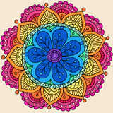 Psychedelic Henna Mandala Doodle Flower Vector Stock Images