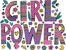 Psychedelic hippie Girl Power lettering. With colorful flowers. on white background.Quote design.Drawing for prints on t-shirts and bags or poster.Vector stock illustration