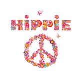 Psychedelic hippie lettering and peace symbol with colorful abstract flowers, peace symbol, eyes and fly agaric. Isolated on white Royalty Free Stock Images