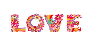Psychedelic hippie love lettering with colorful abstract flowers, rainbow, peace symbol, eyes and fly agaric. Isolated on white ba. Psychedelic hippie love Stock Photos