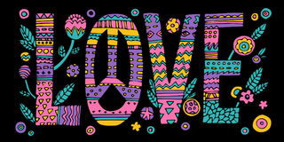 Psychedelic hippie Love lettering. With colorful flowers.Quote design on black background.Vector vector illustration