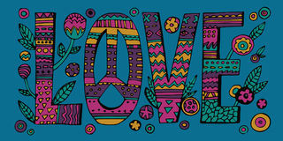 Psychedelic hippie Love lettering Stock Image