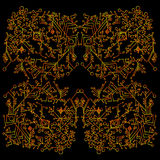 Psychedelic, kaleidoscope pattern, yellow red contour, isolated on black background. Royalty Free Stock Photos