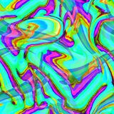 Psychedelic Kaleidoscope Print with Swirls and Neon stock illustration