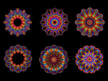 Psychedelic Kaleidoscope Spirograph Motifs. Collection of Psychedelic Kaleidoscope Spirograph Motifs Isolated On Black Royalty Free Stock Photography
